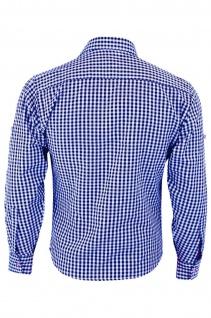 Trachtenhemd mit Edelweiß-Stickerei Blau/karo 100% Baumwolle - Vorschau 2
