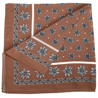 Seidentuch Halstuch Trachtentuch Edelweiss-muster nikituch aus Seide 52x52cm 12x Farbtöne - Vorschau 4