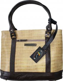 German Wear, Damen Lederhandtasche Shopper Ledertasche Handtasche Tasche Tragetasche beige/braun