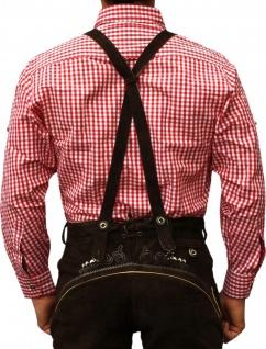 Trachtenhemd für Trachtenlederhosen Oktoberfest Trachtenmode rot/kariert 100% Baumwolle - Vorschau 2