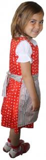 3-tlg Kinder Dirndl Mädchendirndl Dirndlbluse Dirndlschürze Kleid Rot - Vorschau 3
