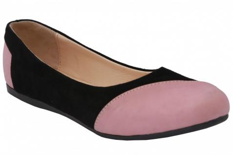 German Wear, Ballerinas Lederschuhe aus Wildleder & Glattleder in schwarz/rosa