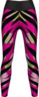 Zebra Leggings dehnbar für Sport, Yoga, Gymnastik, Training, Tanzen & Freizeit schwarz/Pink/grün