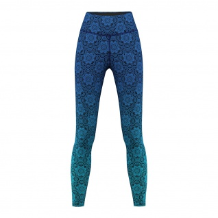 Mandala Blue Leggings sehr dehnbar Fitness Sport Yoga Gymnastik Training Tanzen Freizeit