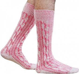 Kurze Trachtensocken Trachtenstrümpfe Zopfmuster Socken Neon-Pink meliert