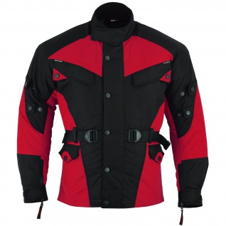 Motorradjacke Cordura Textilien Rot/Schwarz