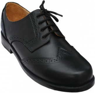 Business Schuhe Brogue mit Ledersohlen echtleder Schwarz