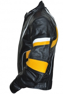Motorradjacke Lederjacke Chopperjacke Cruiser jacke Schwarz/Gelb - Vorschau 2