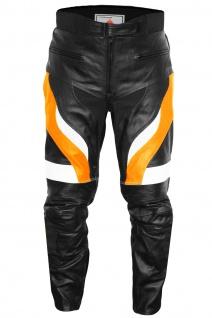 Motorradhose Motorrad Biker Racing Lederhose Schwarz/Orange