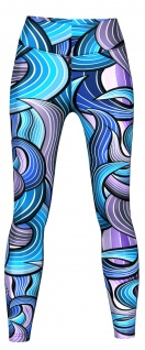 Maze Leggings sehr dehnbar für Sport, Yoga, Gymnastik, Training & Fashion Lila/Blau
