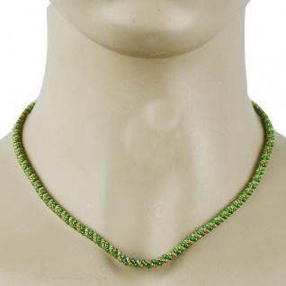 Trachtenkordel Kordel Kette Anhänger Metall hell grün gold Trachten Tracht