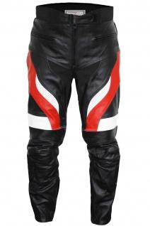 Motorradhose Motorrad Biker Racing Lederhose Schwarz/Rot