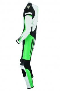 Fluoreszierender Einteiler Motorradkombi Motorrad Lederkombi aus Rindsleder echtleder Kombi Grün - Vorschau 3