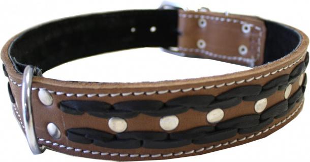 Hundehalsband aus echtem Leder 55-64cm in braun - Vorschau 2