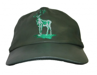 Jagdmütze Jägermütze ledermütze Hunting cap aus Leder in Jagdgrün