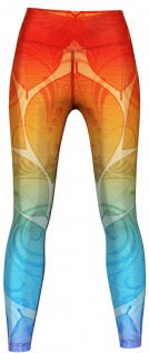 Orange & Blue Ombre Leggings sehr dehnbar für Sport, Yoga, Gymnastik, Training, Tanzen & Freizeit