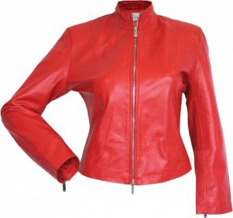 German Wear, Damen Lederjacke Trend Fashion echtleder Jacke aus Lammnappa Leder Rot