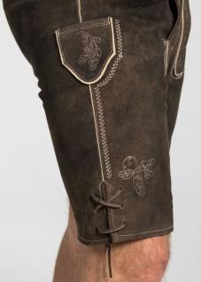 Trachten Herren Lederhose Veit 134-H kurzhose mit Gürtel Ziegenvelour Stickerei - Vorschau 5