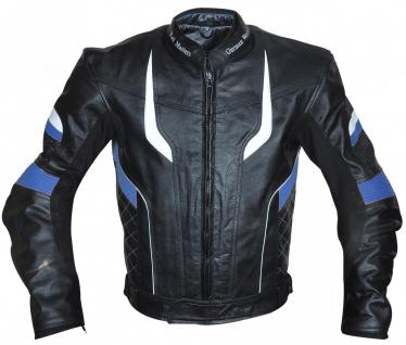 Motorradjacke Lederjacke Chopperjacke Cruiser jacke Schwarz/Blau - Vorschau 1
