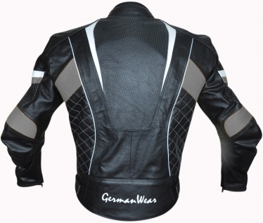 GermanWear 2-teiler Motorradkombi Biker lederkombi aus Rindsleder Schwarz/Grau - Vorschau 3