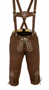 German Wear, Damen Trachten Kniebundhose Jeans Hose kostüme mit Hosenträgern Braun - Vorschau 2