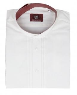 Trachtenhemd für Lederhosen Trachtenmode wiesn mit Verzierung Stehkragen weiß - Vorschau 2