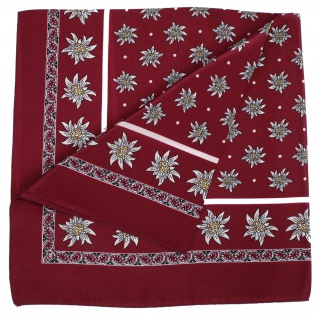 Seidentuch Halstuch Trachtentuch Edelweiss-muster nikituch aus Seide 52x52cm 12x Farbtöne - Vorschau 2