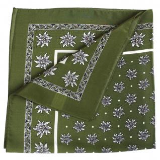 Seidentuch Halstuch Trachtentuch Edelweiss-muster nikituch aus Seide 52x52cm 12x Farbtöne - Vorschau 3