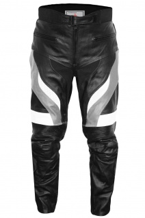 Motorradhose Motorrad Biker Racing Lederhose Schwarz/Grau