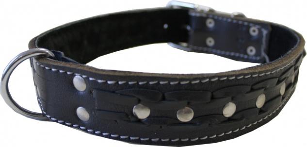 Hundehalsband aus echtem Leder 55-64cm in schwarz - Vorschau 2