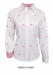 Trachtenbluse Damen Trachten Lederhosen-Bluse mit pinker Stickerei Trachtenmode Weiß