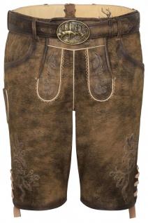 Trachten Herren Lederhose Havel 238-H kurzhose Antik mit Gürtel Ziegenvelour Stickerei