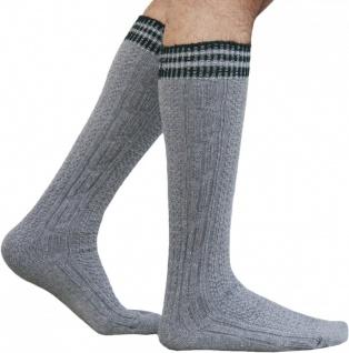 Lange Trachtensocken Strümpfe Socken aus Wolle Grau/Grün