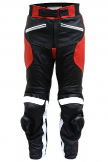 German Wear, Damen Motorradhose Motorrad Biker Racing Lederhose Rindsleder schwarz/rot-weiss
