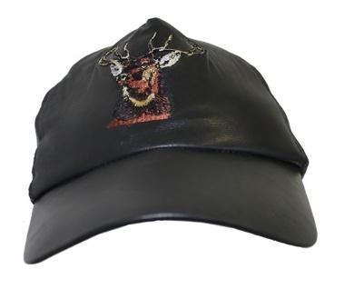 Jagdmütze Jägermütze ledermütze Hunting cap aus Leder in Schwarz
