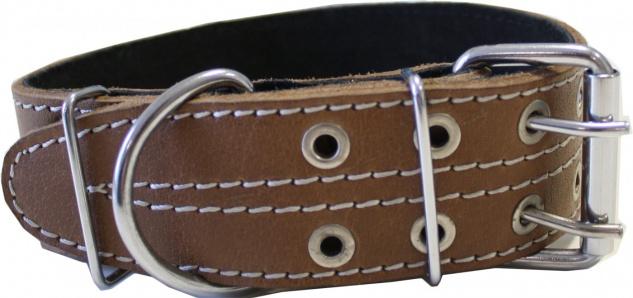 Hundehalsband aus echtem Leder 47-58cm in braun - Vorschau 2