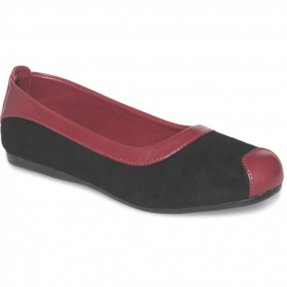 German Wear, Ballerinas Lederschuhe aus Wildleder & Glattleder in schwarz/bordeaux rot