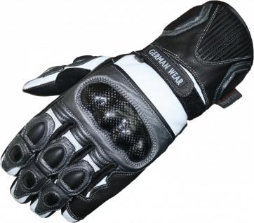 German Wear, Motorrad Biker Handschuhe Motorradhandschuhe Lederhandschuhe Schwarz/Anthrazit/Weiß