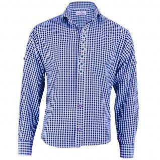 Trachtenhemd mit Edelweiß-Stickerei Blau/karo 100% Baumwolle - Vorschau 1