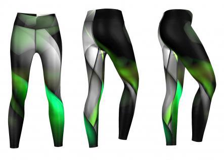 Glow Leggings sehr dehnbar für Sport, Gymnastik, Training, & Freizeit schwarz/grün - Vorschau 3