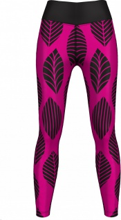 GermanWear, Leggings Tights dehnbar Sport Gymnastik Training Tanzen Freizeit Yoga, Leaf pink/schwarz