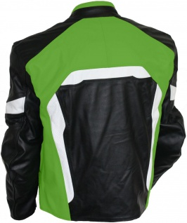 Lederjacke Motorradjacke Kombijacke in der Farbe Schwarz/Grün - Vorschau 2