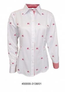 Trachtenbluse Damen Trachten Lederhosen-Bluse mit roter Stickerei Trachtenmode Weiß