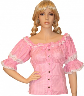 Carmenbluse Trachtenbluse Trachten Lederhosen-bluse Trachtenmode Rosa/kariert - Vorschau
