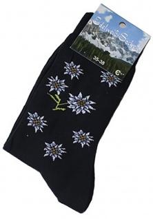 Trachtensocken Edelweiß-Socken Blütenmuster schwarz