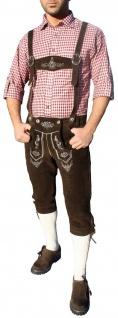 German Wear, Trachten Lederhose Kniebundhose trachtenhose mit Hosenträger Braun - Vorschau 4