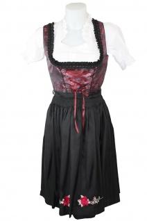 1-teiliges Midi-Dirndl Landhaus Kleid Dirndel ohne Bluse schwarz/weinrot - Vorschau 2