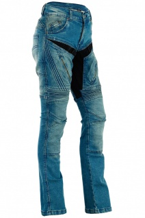 RadMasters, Damen Kevlar Motorradjeans Motorradhose Denim Jeans Hose mit Protektoren blau