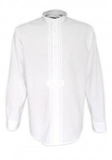 Trachtenhemd für Lederhosen Trachtenmode wiesn mit 2x2 Verzierung Stehkragen weiß
