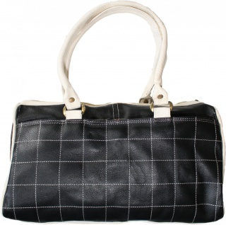 Damen Lederhandtasche Ledertasche Handtasche Tasche Tragetasche echtleder schwarz/weiß - Vorschau 2